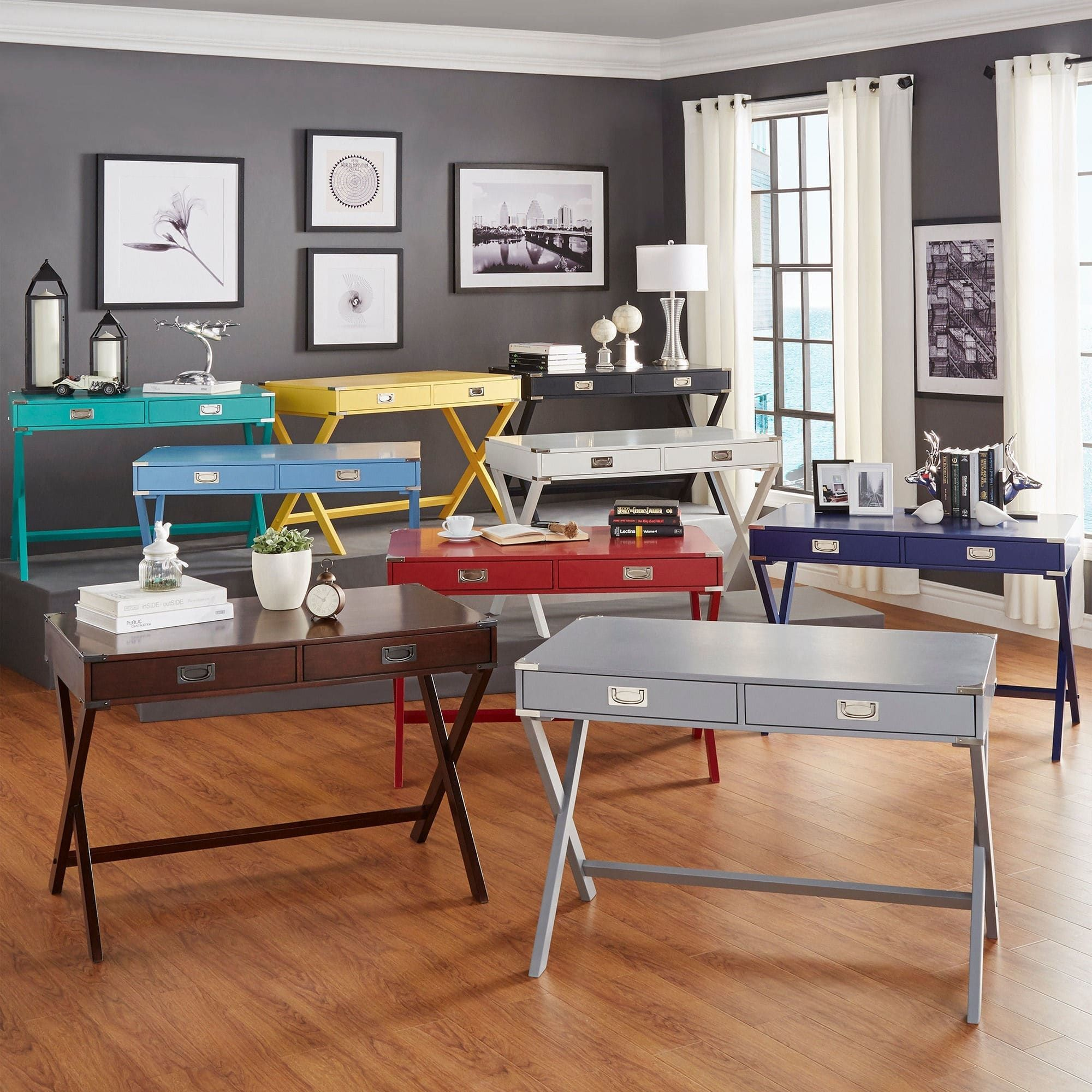 Kenton X Base Wood Accent Campaign Writing Desk iNSPIRE Q Modern |  Overstock.com Shopping