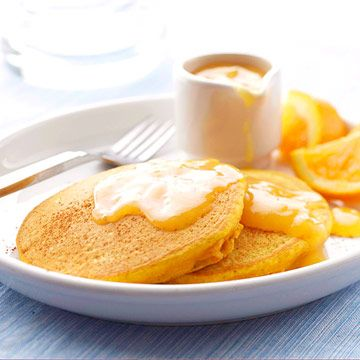 Pumpkin Pancakes     Craving something sweet this a.m.? Pumpkin-spiced hotcakes are perfect for lazy mornings when you're craving something satisfying. Pumpkin adds sweet, natural flavor as well as protein and fiber to the cakes.