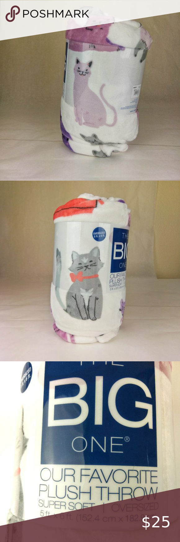 5/' x 6/' New Cats Super Soft Plush Pink /& Purple Throw Blanket The Big One