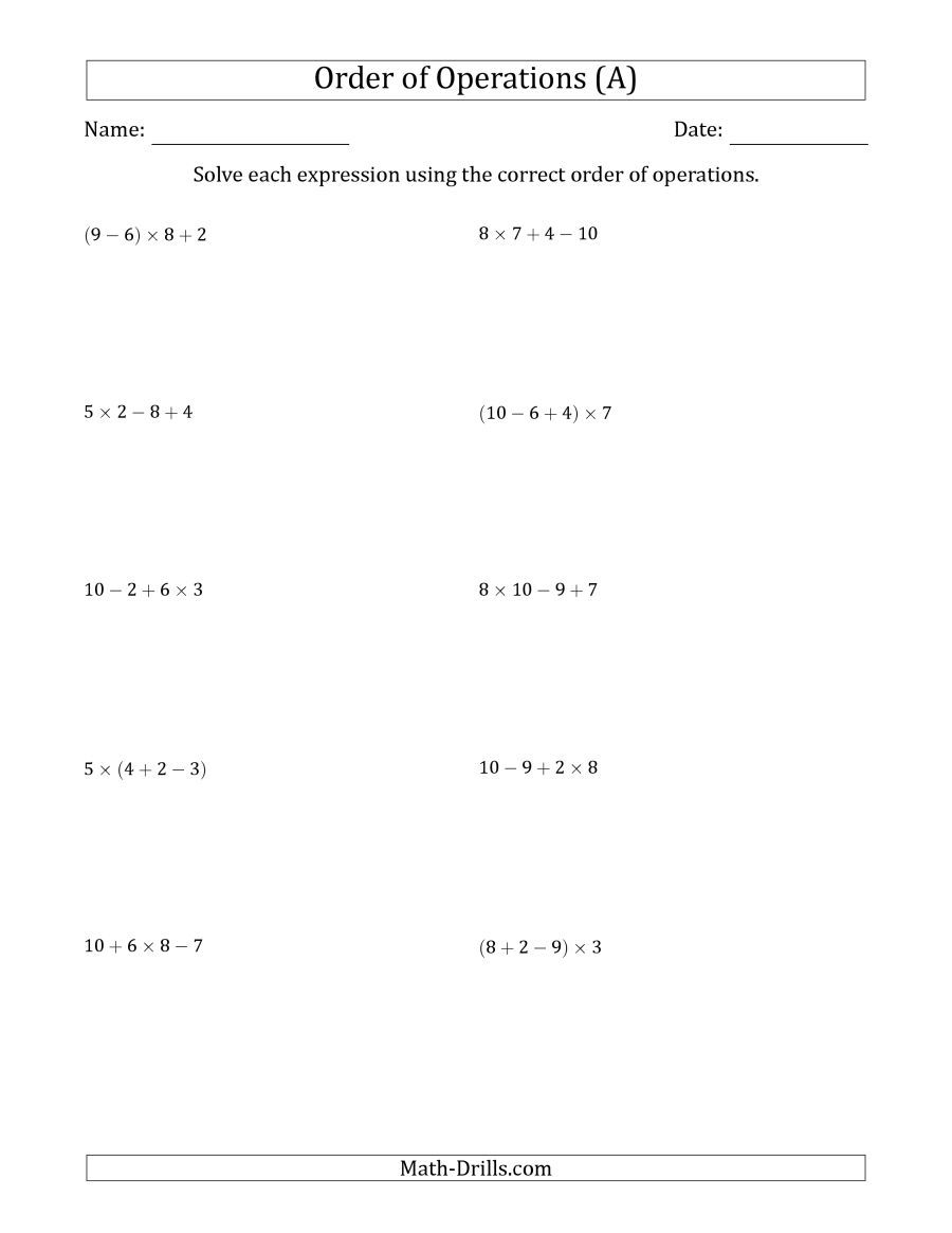 the order of operations with whole numbers multiplication addition  the order of operations with whole numbers multiplication addition and  subtraction only three steps a math worksheet from the order of  operations