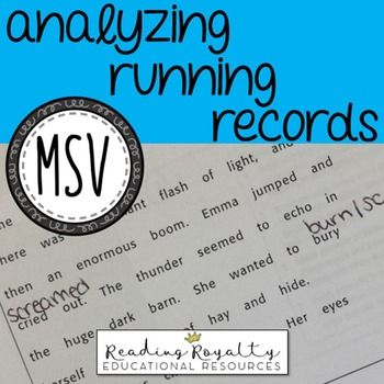Free Msv Cheat Sheet Analyzing Running Records Running Records