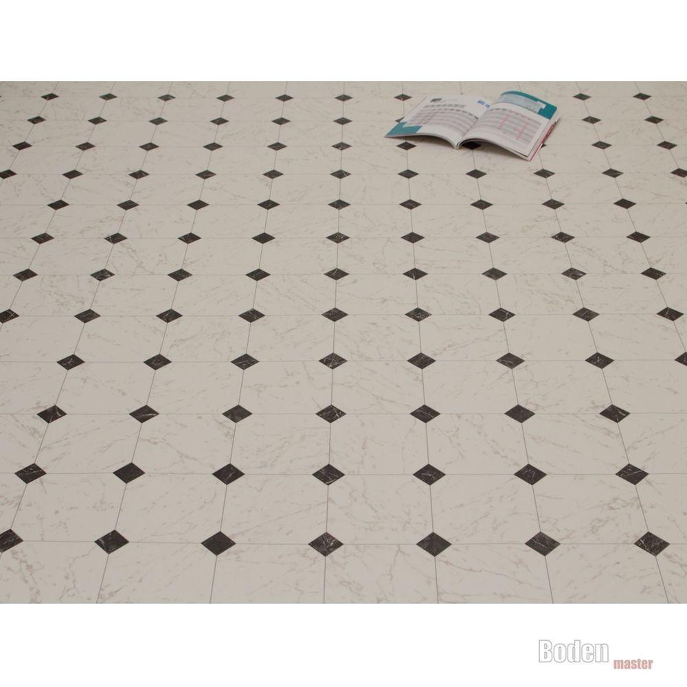 PVC Bodenbelag Fliese Marmor Schwarz Weiß Breite Meter M² - Pvc laminat auf fliesen verlegen