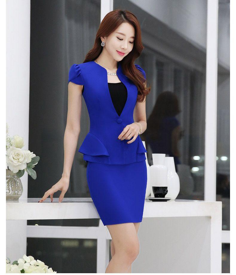 2016 del verano mujeres delgadas de la falda trajes de negocios formales de  oficina señoras elegantes 59608bb42ade