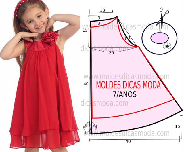 VESTIDO INFANTIL SIMPLES VERMELHO (Moldes Dicas Moda)