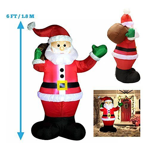 6 Foot Inflatable Santa Claus; LED Light Up Giant Christmas Xmas - inflatable christmas yard decorations