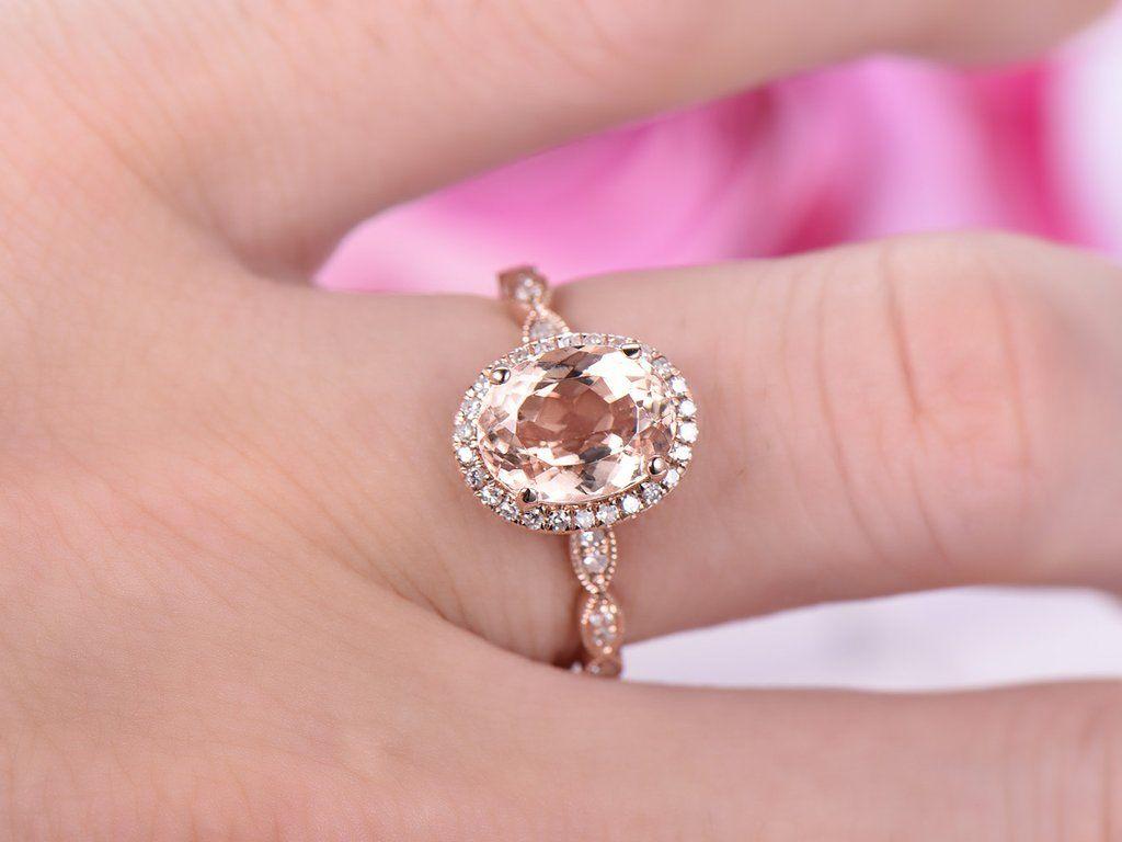 Oval Morganite Engagement Ring Pave Diamond Wedding 14K Rose Gold ...