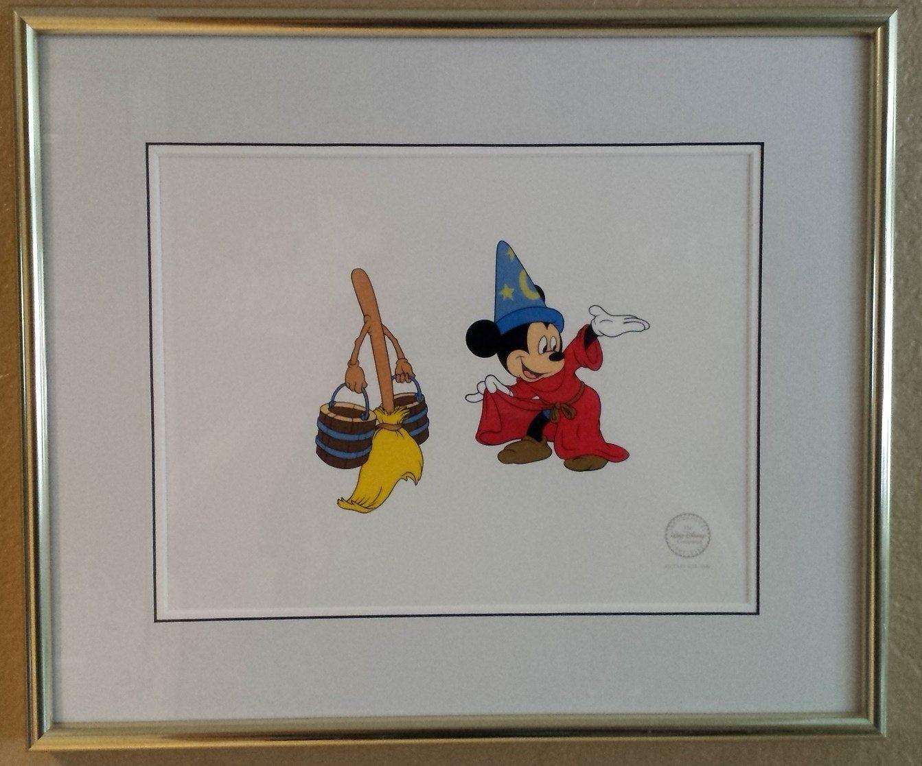 "Framed Disney Treasures /""Fantasia/"" Sorcerer Mickey Mouse Serigraph COA /& Box"