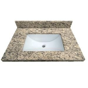 Granite Vanity Top In Santa Cecilia With White Basin 31885 At The Home Depot