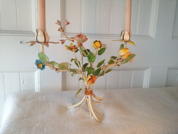 Vintage Metal Colorful Floral Candleholder by yellowfinchantiques