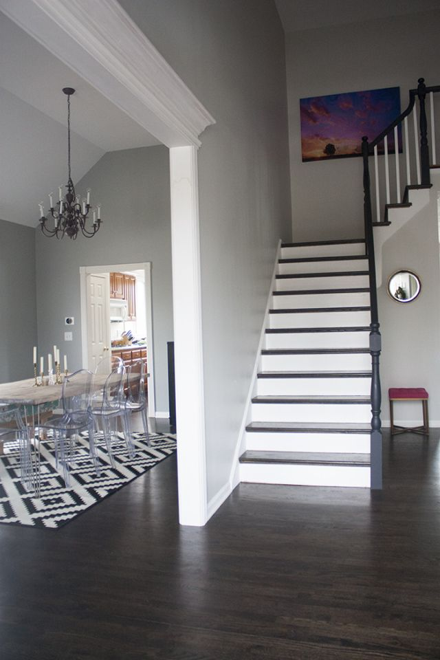 Gray Owl Paint By BM Looks Sharp With Dark Floors Foyer Door Into Dining Room