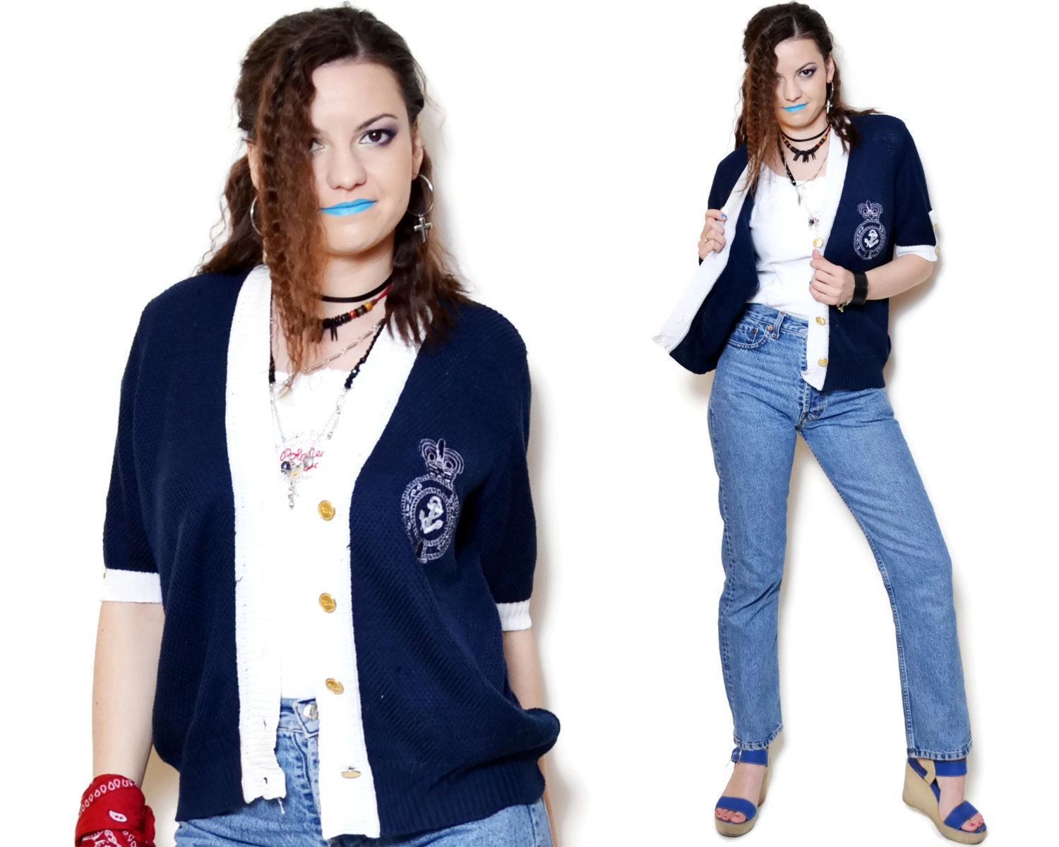 e21c78249b Vintage dark blue embroidered nautical cardigan sweater made by Renato  Balestra. The swater is stretchy