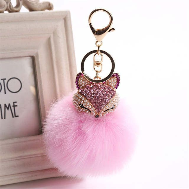 Apparel Accessories Charms Real Fox Fur Keychain Women Trinkets Suspension On Bags Car Key Chain Key Ring Toy Gifts Llaveros Jewelry
