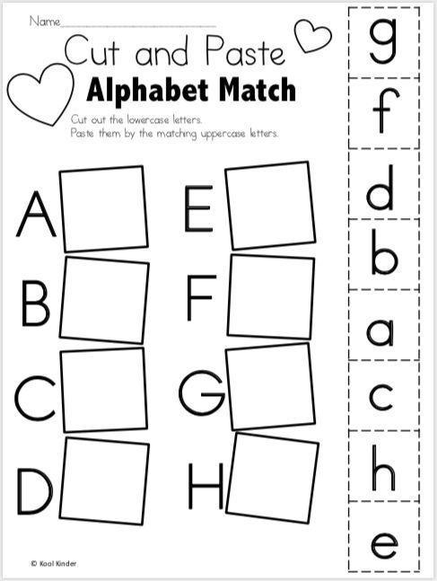 free alphabet worksheets for valentine 39 s day cut and paste alphabet kindergarten. Black Bedroom Furniture Sets. Home Design Ideas