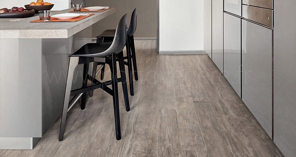 Kitchen With Grey Wood Floors And Brown Wood Floors In 2020 Grey