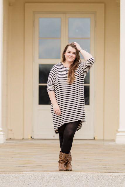 H&M Kleid Streifen gestreift High-Low - Plus Size Fashion Outfit ...