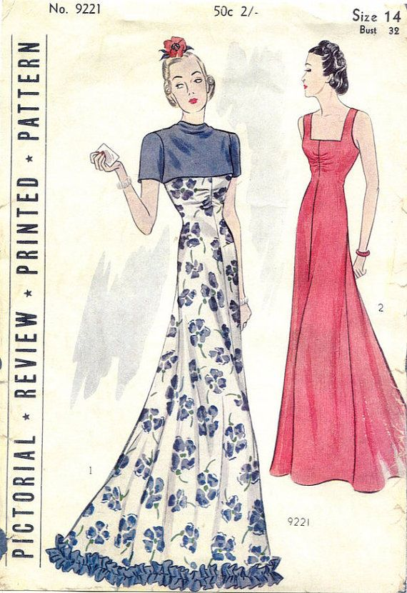 1930s Ladies Evening Gown Sewing Pattern Pictorial Review 9221 ...