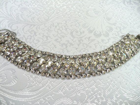 Vintage Bridal RHINESTONE bracelet  STUNNING by ElegantiTesori, $89.99