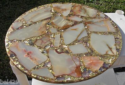 Cool Mid Century Acrylic Lucite Abalone Table Top Gold Sparkle Cjindustries Chair Design For Home Cjindustriesco