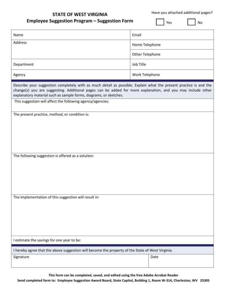 Free 14 Employee Suggestion Forms In Word Excel Pdf
