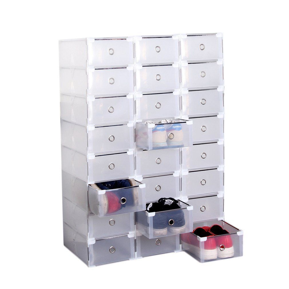 Homgrace 24 Pairs Pull Out Front Modular Storage Shoes Boxes Clear Stackable Plastic Cupboard Wardrob Stackable Storage Boxes Plastic Cupboard Shoe Box Storage