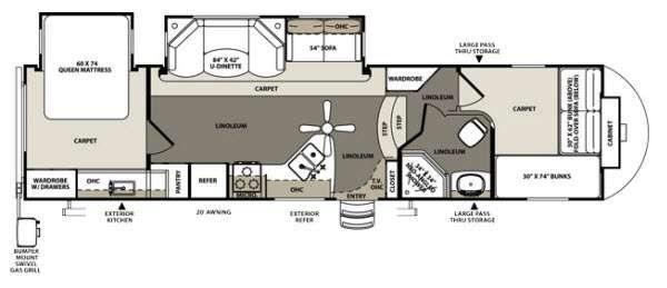 5th Wheel Front Bunkhouse Floor Plans Google Search RV Living Pinterest