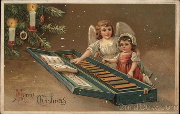 Merry Christmas - Girl and Angel with Xylophone Postmark/Cancel: 1912 Dec-24  Warren, PA