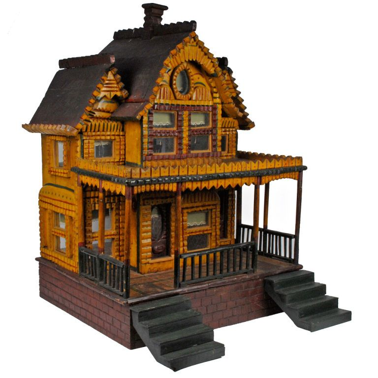 Charming Painted Tramp Art Doll House W Hearts 1stdibs Com Doll House Miniature House Miniature Houses
