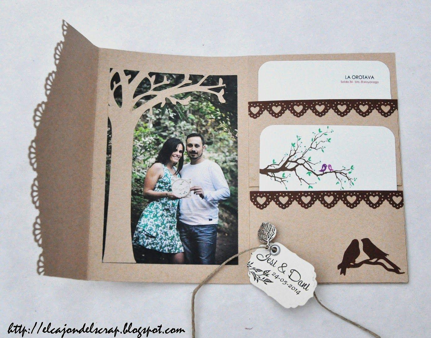 Invitaciones de boda con scrapbooking | Tarjetas de boda hecho a mano,  Invitaciones de boda, Invitacion boda originales