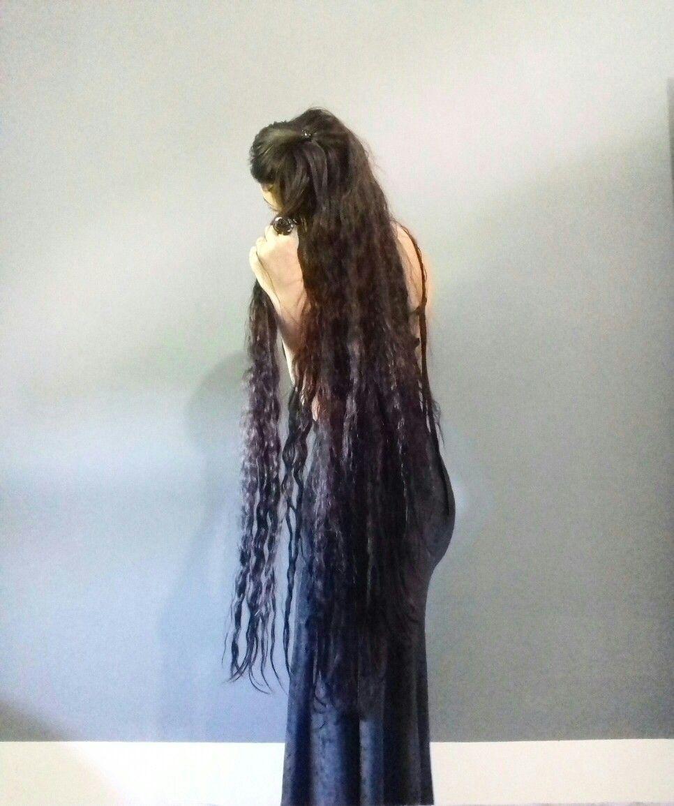 My super long hair black velvet dress longhair pinterest
