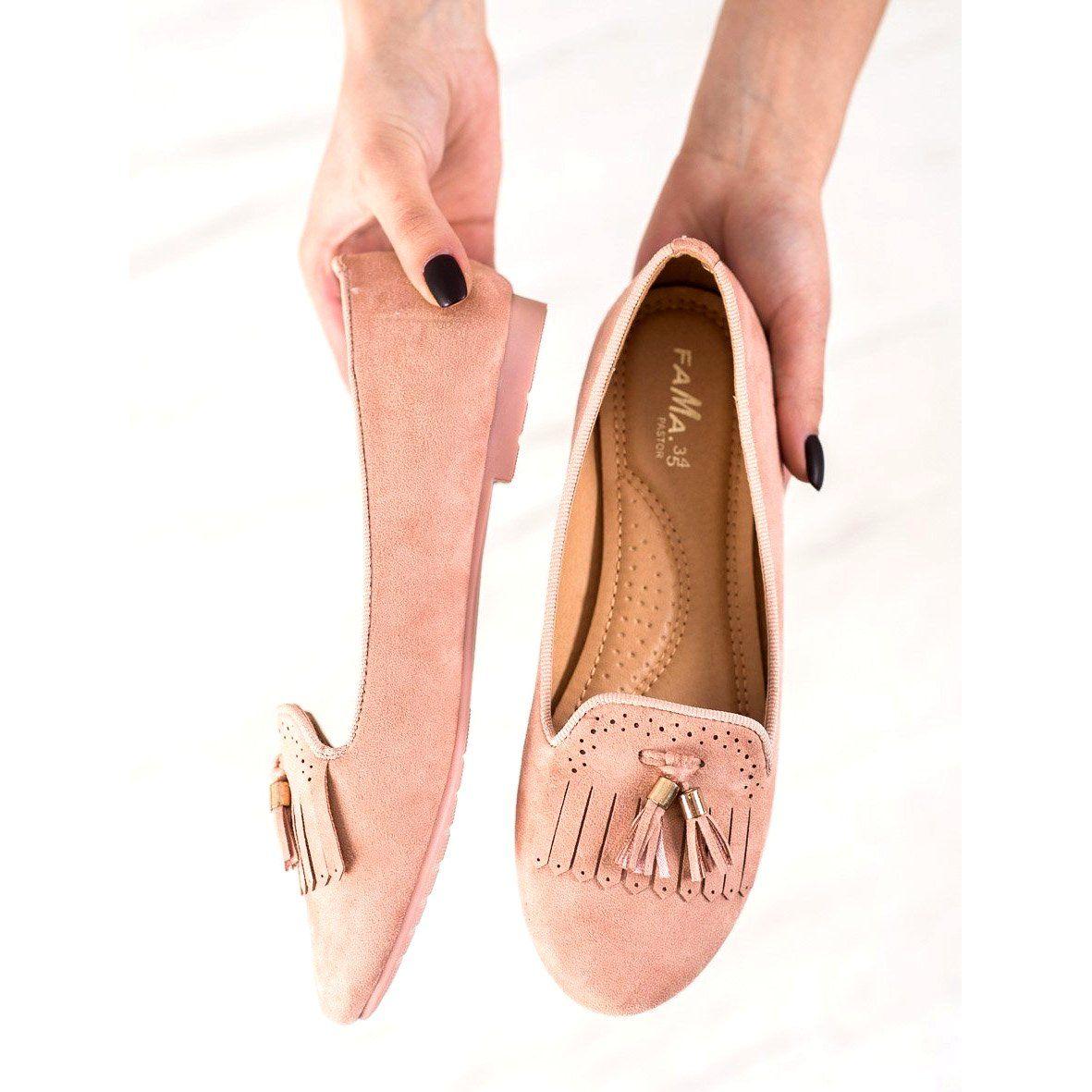 Fama Zamszowe Lordsy Z Fredzlami Rozowe Shoes Flats Fashion