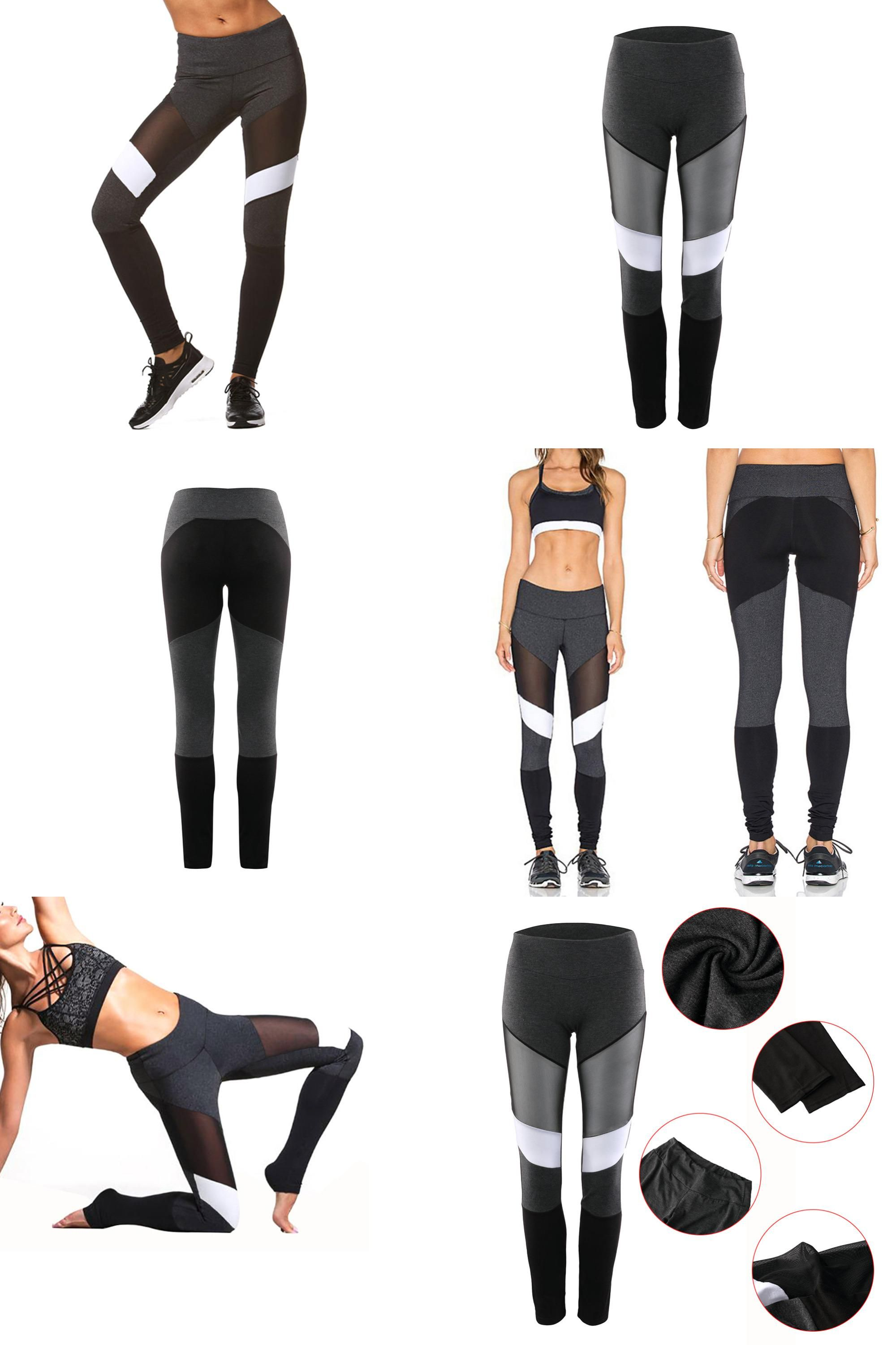 f7fa4b77d0b0c0 [Visit to Buy] New Women Yoga Pants Mesh Patchwork running tight push up  sexy black-white high quality elastic sport fitness gym leggings  #Advertisement