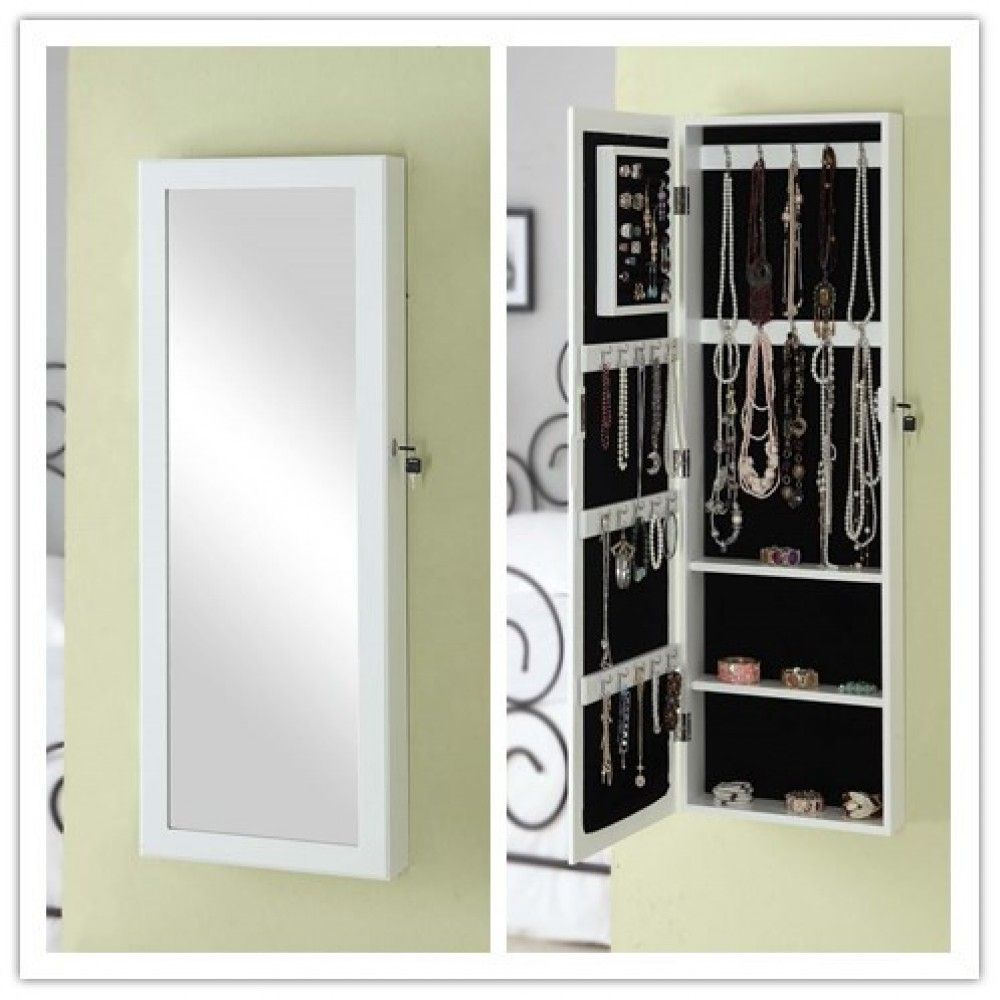Jewelry Cabinet Lockable Wall Door Mounted Jewelry Armoire Organizer With Mirror And Drawers Jewelry Cabinet Wall Storage Cabinets Bedroom Storage Cabinets