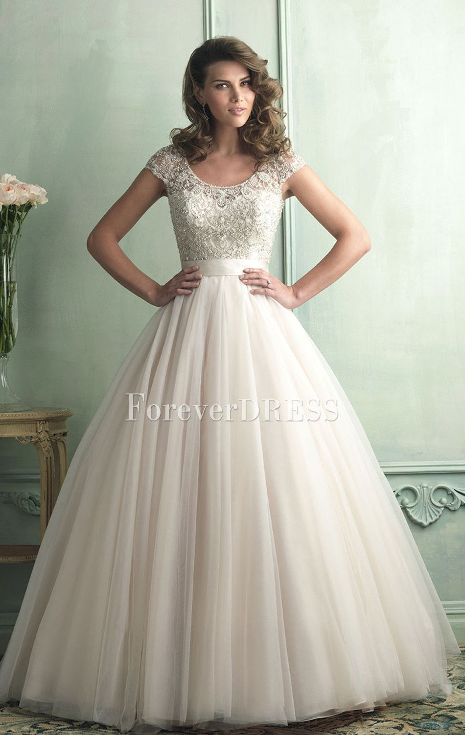 Elegant ivory organza ball gown delicate beaded wedding for Short wedding dresses with sleeves