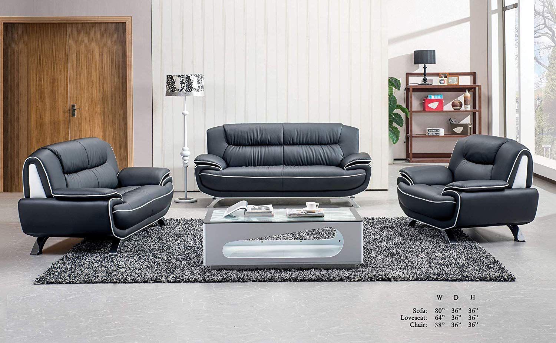 Esofastore Modern Contemporary Living Room Furniture 3pc Sofa Set Black Bonded Leather Fla Contemporary Modern Living Room Furniture Cushions On Sofa Furniture