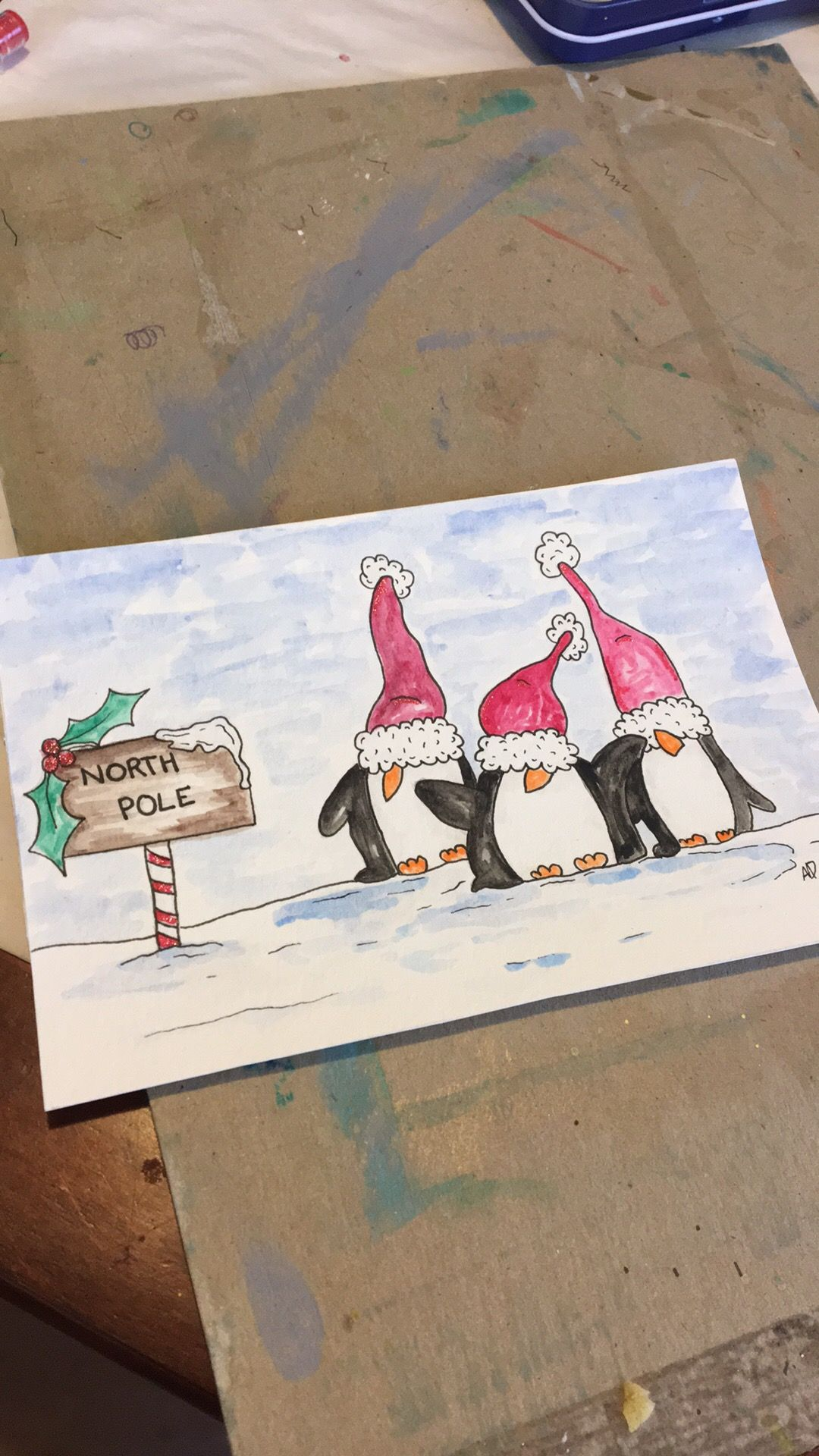 Watercolors Cards Christmas Weihnachten Zeichnung Aquarell