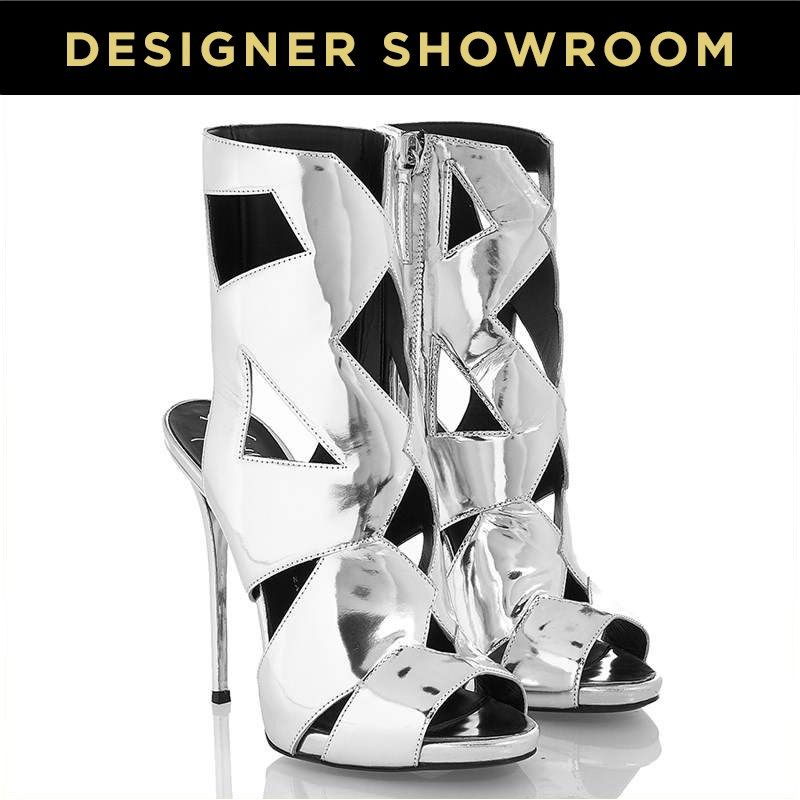 Giuseppe Zanotti Silver Leather Caged Stilettos