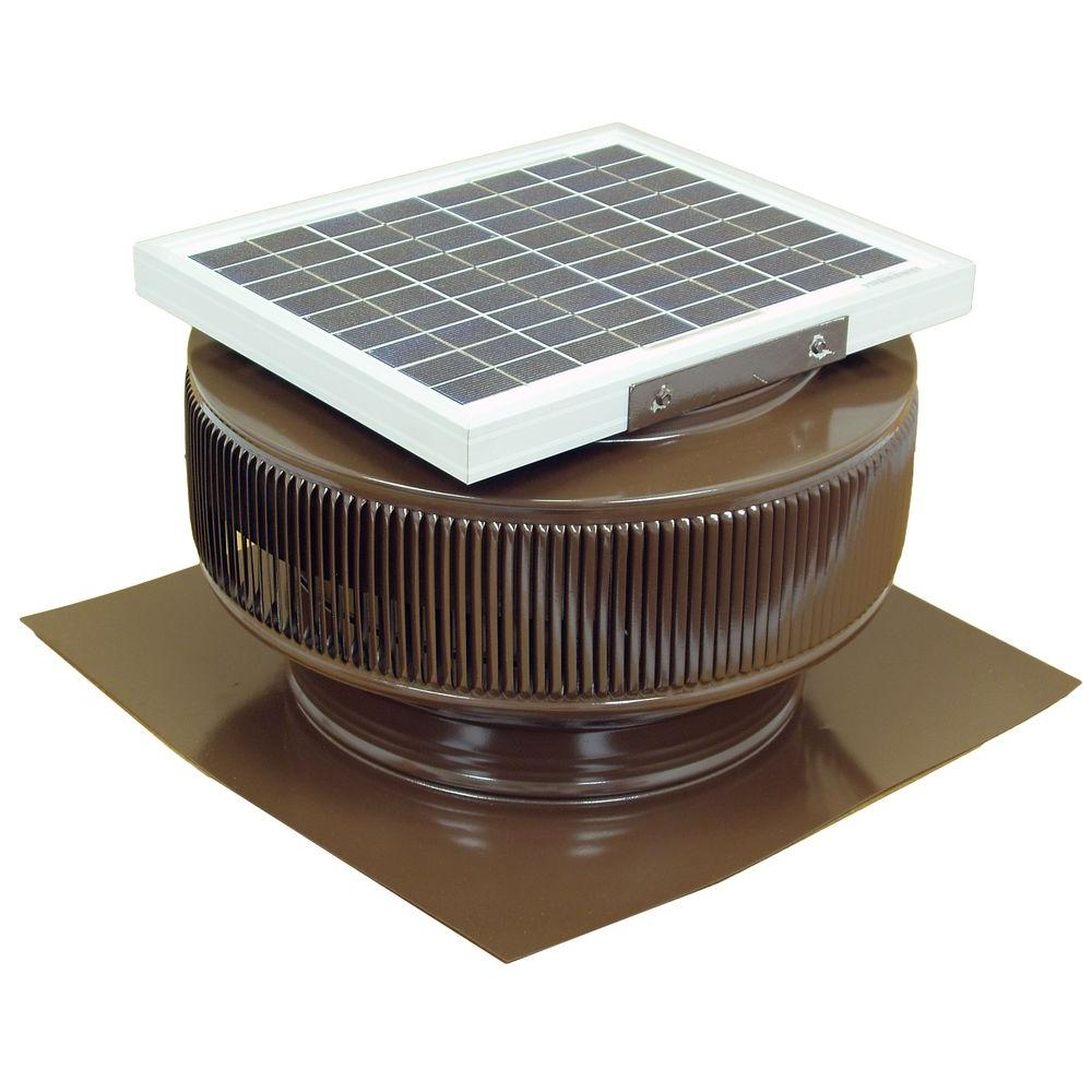 740 Cfm Brown Powder Coated 10 Watt Solar Powered 12 In Dia Attic Exhaust Fan Solar Powered Attic Fan Exhaust Fan