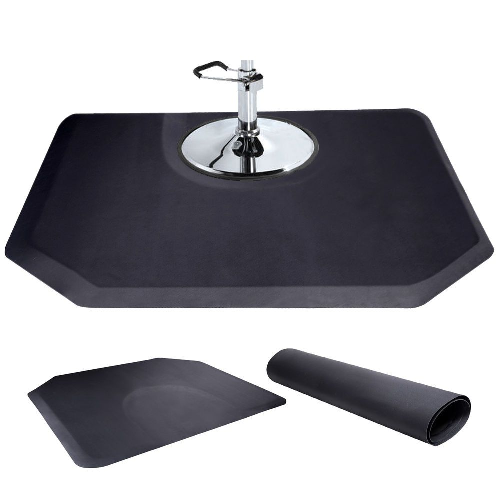 Black 5 X4 1 2 Thick Barber Salon Anti Fatigue Floor Mat Semi Hexagan Anti Fatigue Floor Mats Anti Fatigue Flooring Beauty Salon Equipment
