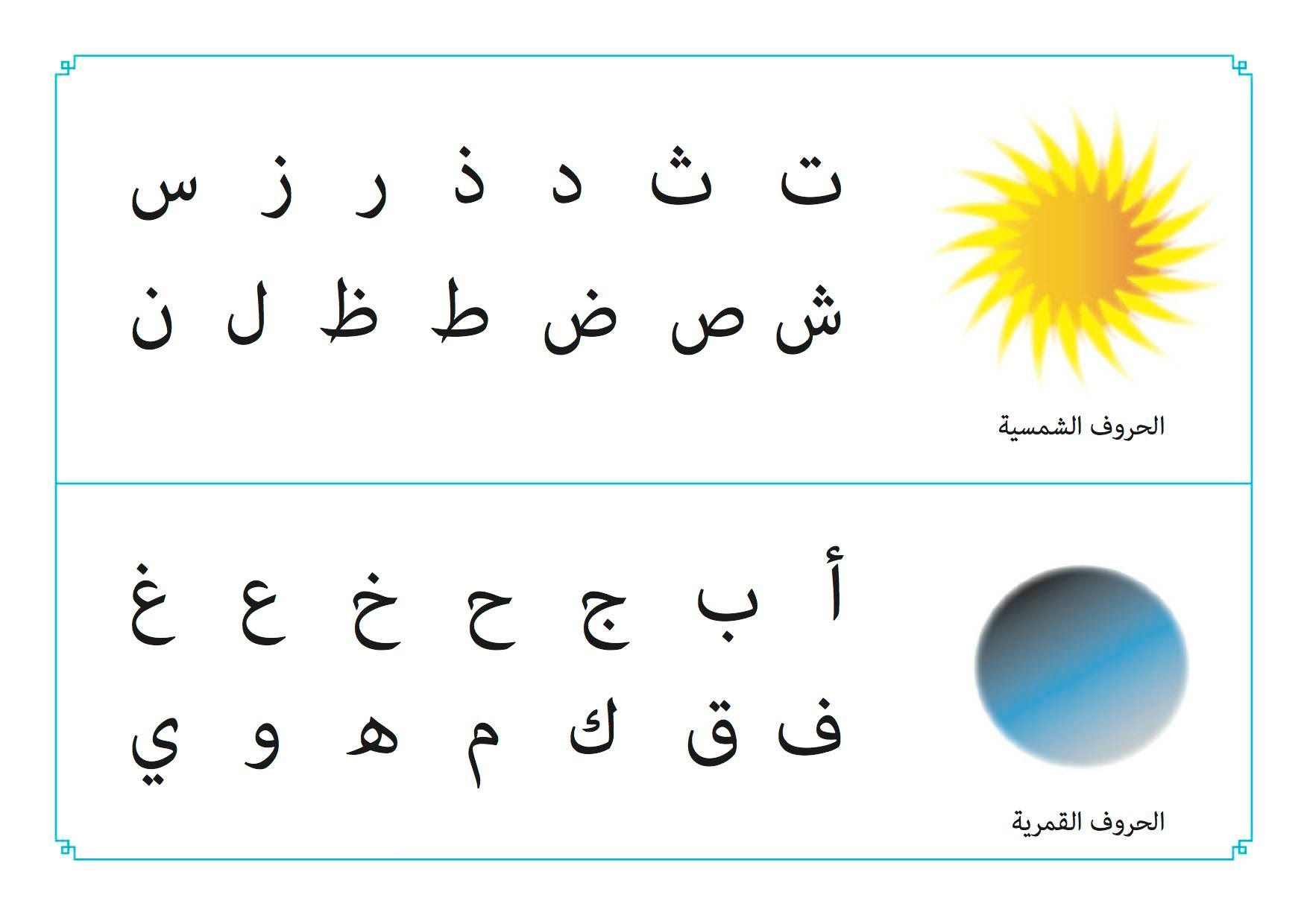 Sun And Moon Letters Learn Arabic Language Arabic Words Letters In Arabic