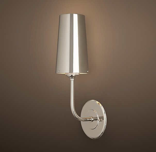 RH\'s Modern Taper Sconce with Metal Shade:Our contemporary ...
