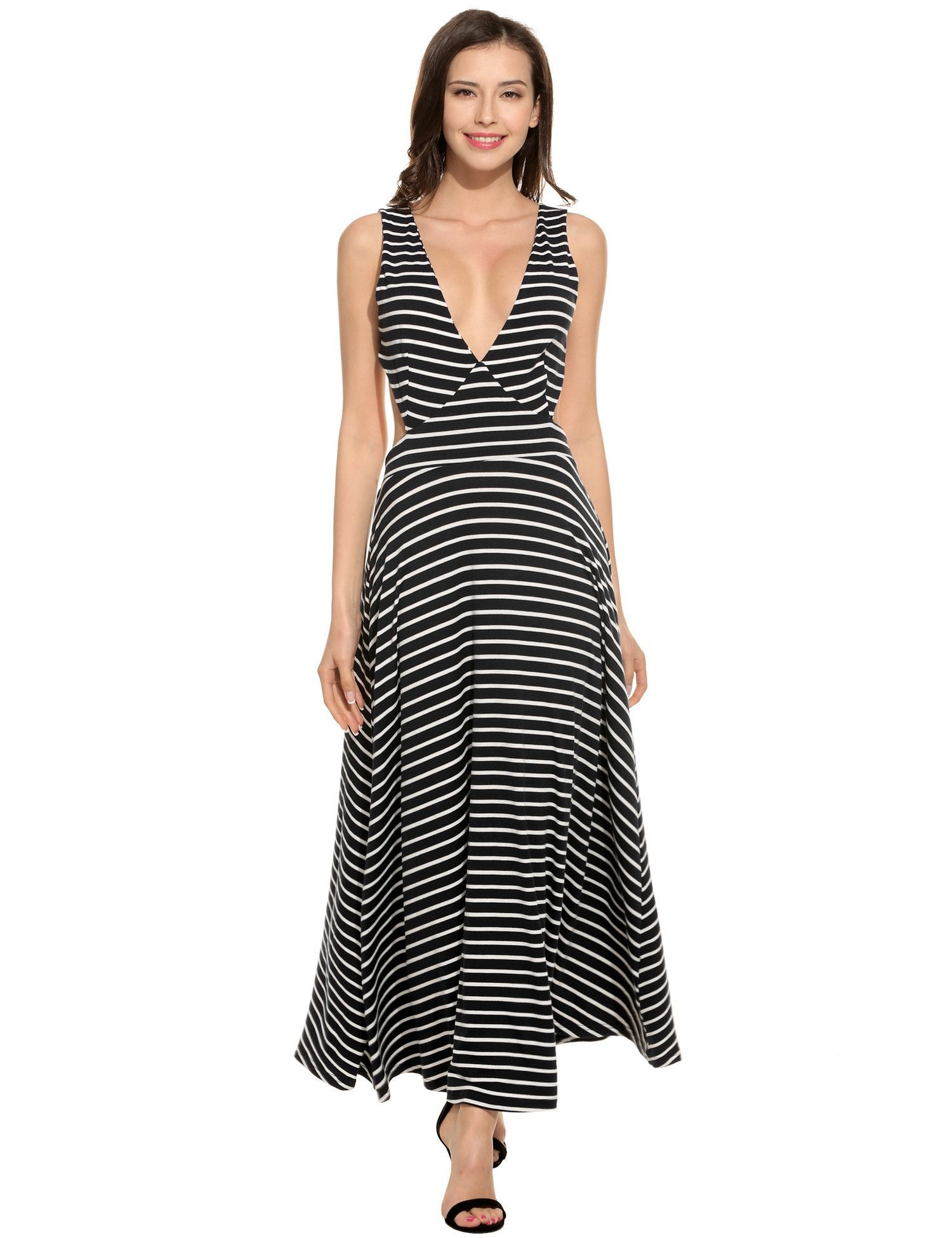 9049ade175 Navy blue Women Casual V-Neck Sleeveless Striped Pleated Backless Elastic  Tank Beach Maxi Dress
