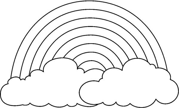 A Simple Drawing Of Rainbow Behind The Cloud Coloring Page Can Be
