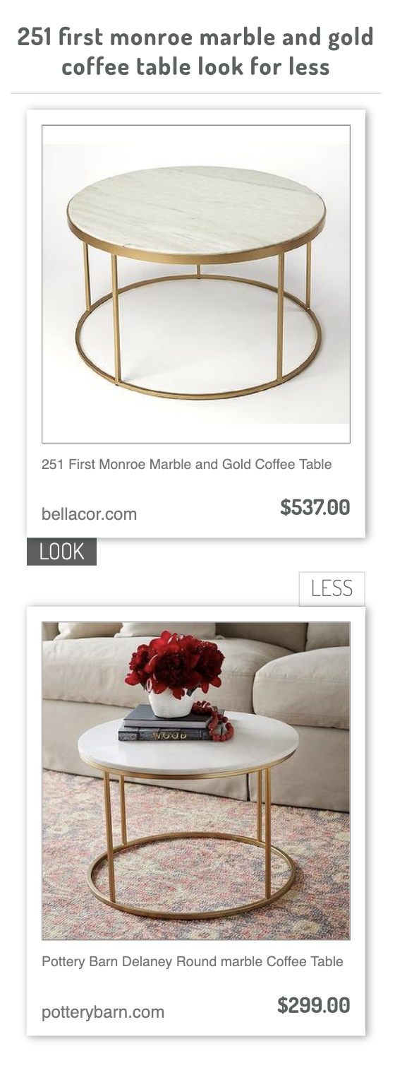 251 First Monroe Marble And Gold Coffee Table Vs Pottery Barn Delaney Round Marble Coffee Table Gold Coffee Table Coffee Table Marble Coffee Table [ 1532 x 560 Pixel ]