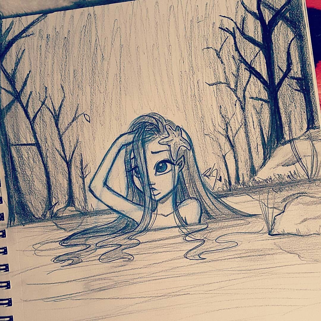 Cute sad girl in a river drawn by christina lorre for Really cool drawing ideas