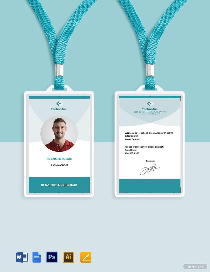 Free Elegant It Id Card Template Word Doc Psd Apple Mac Pages Google Docs Illustrator Id Card Template Card Template Cards