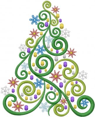 Swirl Christmas Tree Embroidery Design | Machine embroidery ...