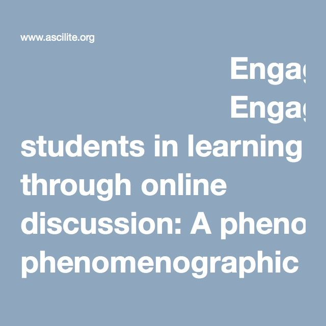 Engaging students in learning through online discussion: A phenomenographic study