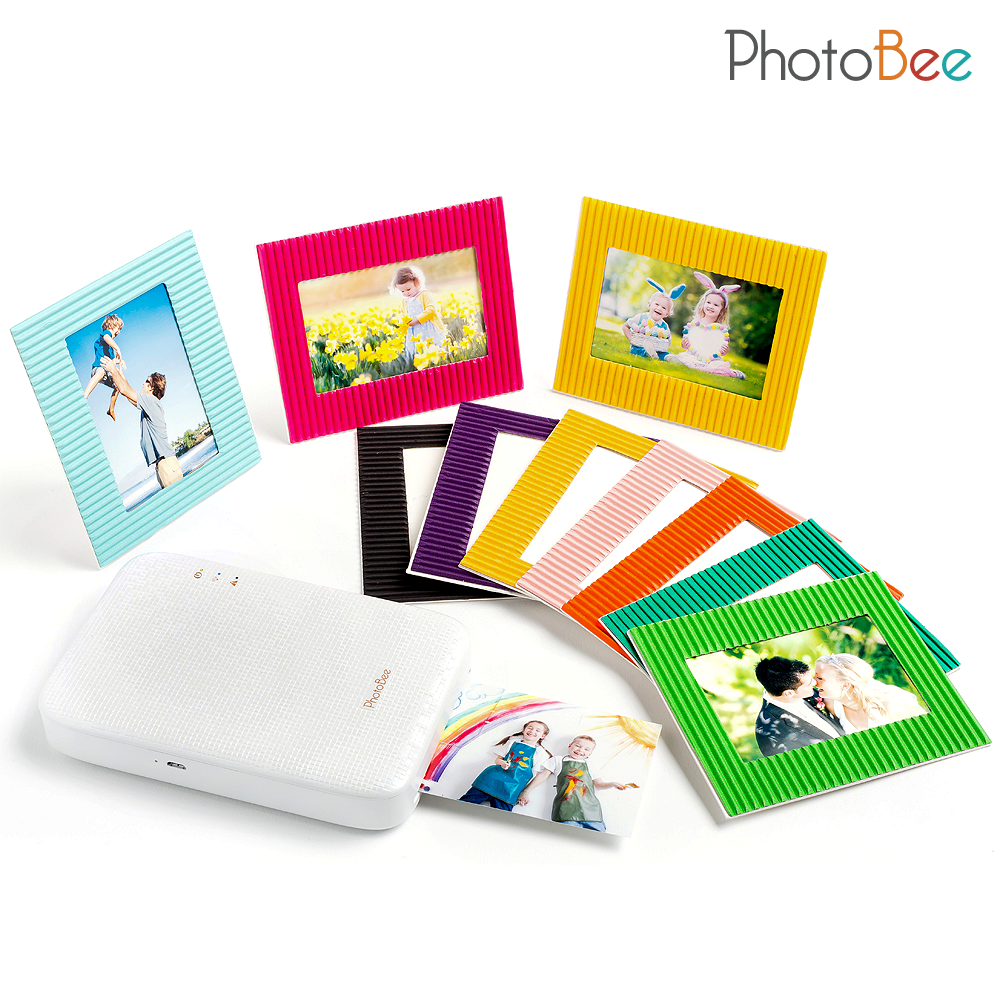 Portable photo printer with white glossy pattern ...