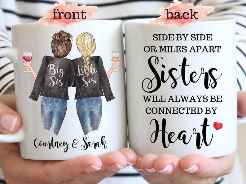 Sister Mug Side By Side Or Miles Apart Sisters Mug Long Distance Sister Gift