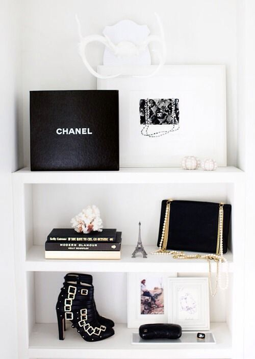 Decorate your shelves with all your most beloved possessions, including Chanel.